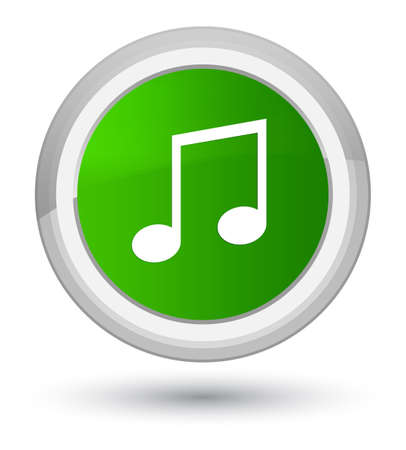 prime: Music icon isolated on prime green round button abstract illustration