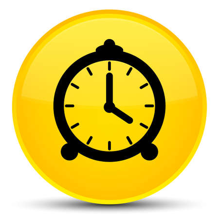 Alarm clock icon isolated on special yellow round button abstract illustration