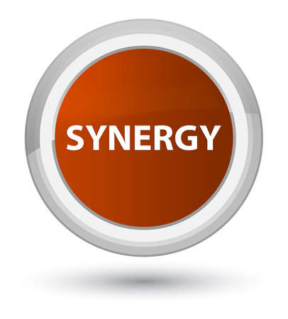 Synergie op eerste bruine ronde knoop abstracte illustratie die wordt geïsoleerd Stockfoto