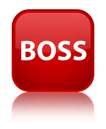 Boss isolated on special red square button reflected abstract illustration Фото со стока