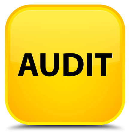 Audit isolated on special yellow square button abstract illustration