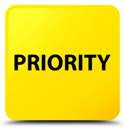 Priority isolated on yellow square button abstract illustration Фото со стока