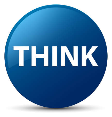 Think isolated on blue round button abstract illustration Banco de Imagens