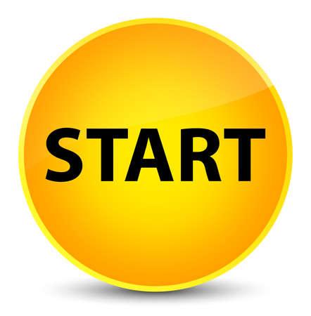 start button: Start isolated on elegant yellow round button abstract illustration