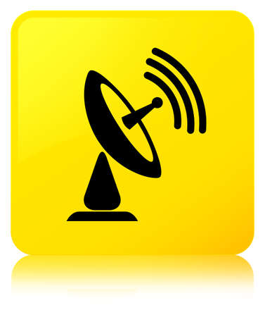 Satellite dish icon isolated on yellow square button reflected abstract illustration
