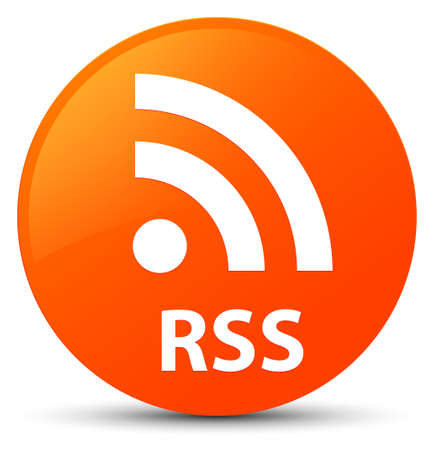 RSS isolated on orange round button abstract illustration