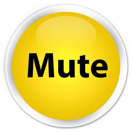 Mute isolated on premium yellow round button abstract illustration