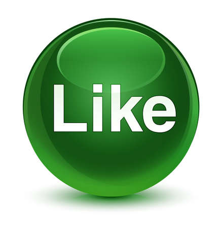 Like isolated on glassy soft green round button abstract illustration Stock Photo
