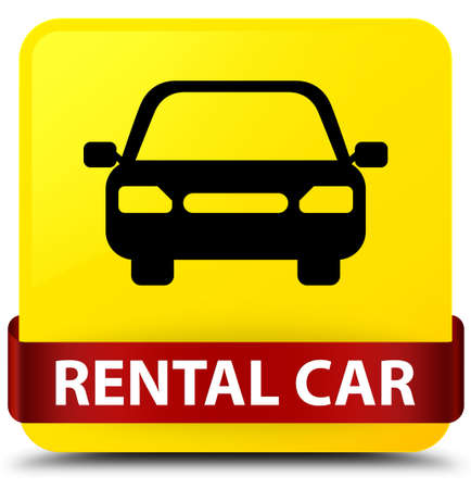 rent car: Rental car isolated on yellow square button with red ribbon in middle abstract illustration Stock Photo