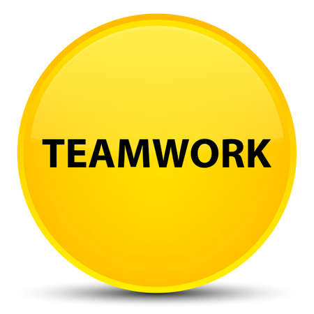 Teamwork isolated on special yellow round button abstract illustration