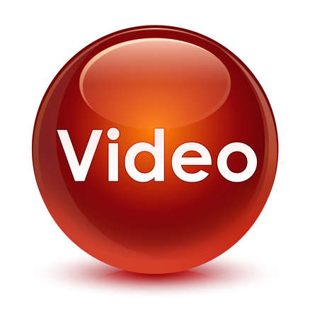 Video isolated on glassy brown round button abstract illustration Stock Photo