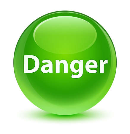 Danger isolated on glassy green round button abstract illustration Stock Photo