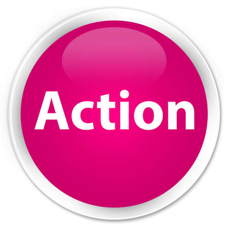 Action isolated on premium pink round button abstract illustration Фото со стока