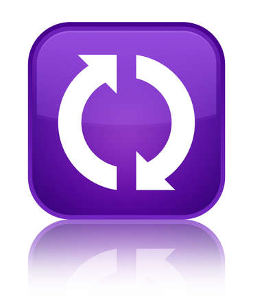 Update icon isolated on special purple square button reflected abstract illustration