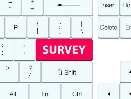 Survey isolated on pink keyboard button abstract illustration