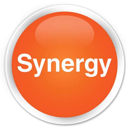 Synergie op abstracte illustratie die van de premie de oranje ronde knoop wordt geïsoleerd
