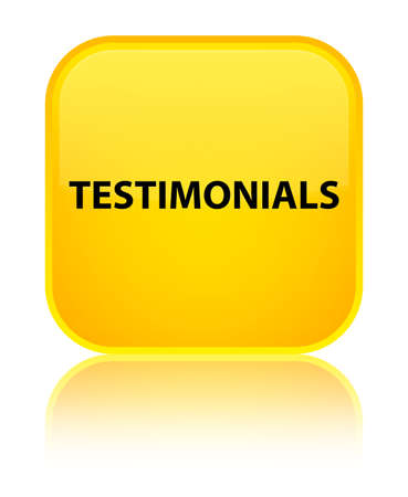 Testimonials isolated on special yellow square button reflected abstract illustration