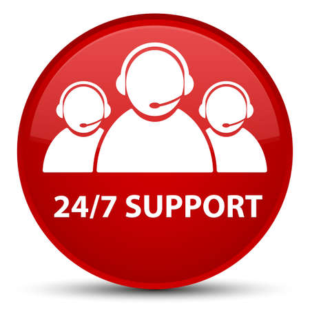 247 Support (customer care team icon) isolated on special red round button abstract illustration