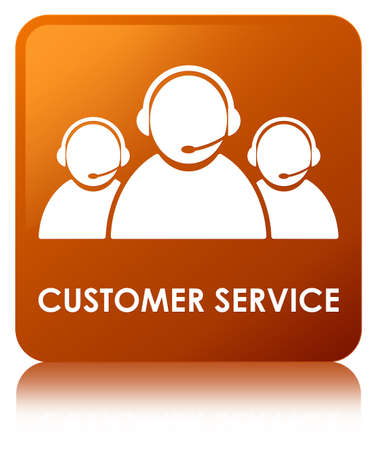 Customer service (team icon) isolated on brown square button reflected abstract illustration