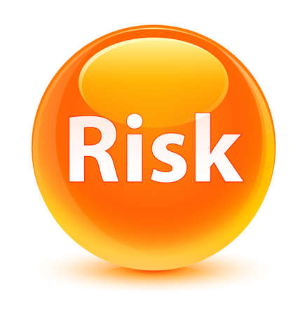 Risk isolated on glassy orange round button abstract illustration