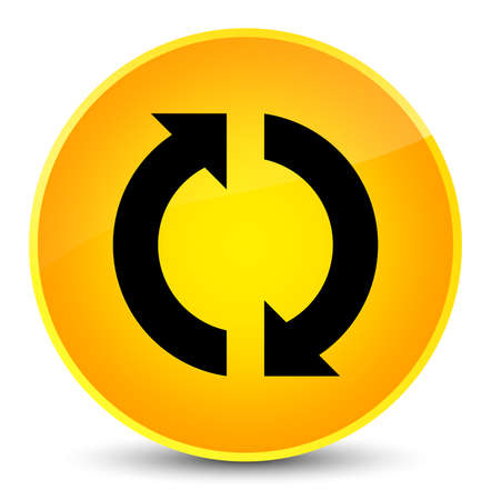 improving: Update icon isolated on elegant yellow round button abstract illustration Stock Photo