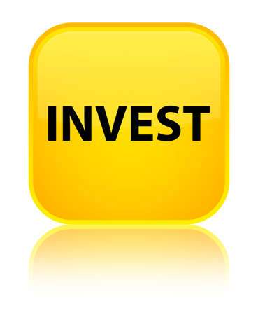 Invest isolated on special yellow square button reflected abstract illustration
