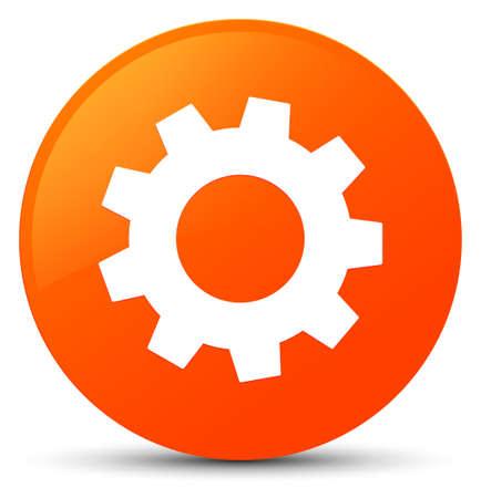 Process icon isolated on orange round button abstract illustration Stock Photo