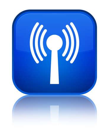Icône de réseau WLAN isolé sur un bouton carré bleu spécial reflète illustration abstraite Banque d'images - 88923439