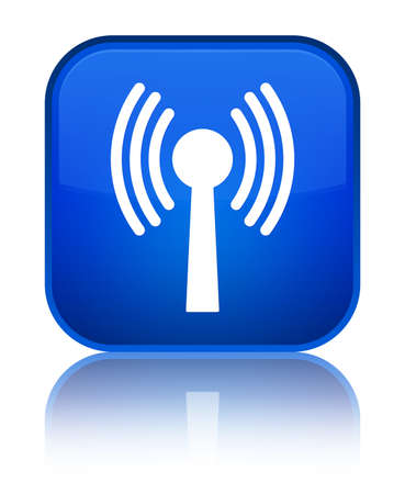 Wlan network icon isolated on special blue square button reflected abstract illustration