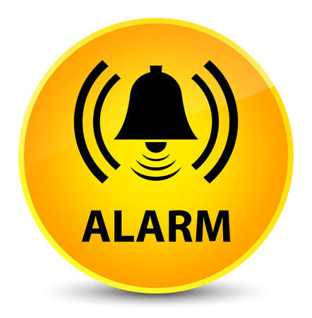 Alarm (bell icon) isolated on elegant yellow round button abstract illustration Stock Photo