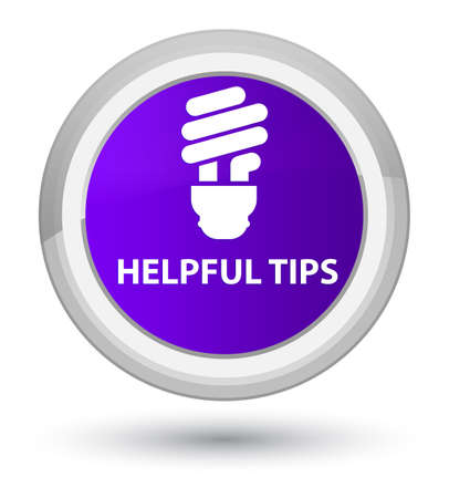 Helpful tips (bulb icon) isolated on prime purple round button abstract illustration Stock Photo