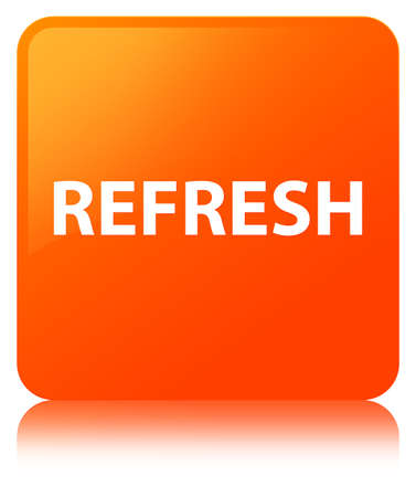 Refresh isolated on orange square button reflected abstract illustration