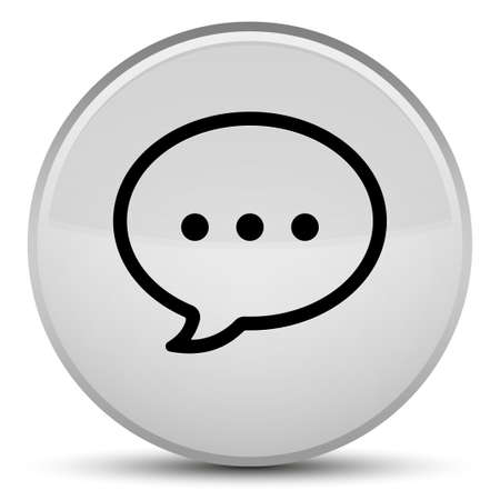 Talk bubble icon isolated on special white round button abstract illustration Stock Photo