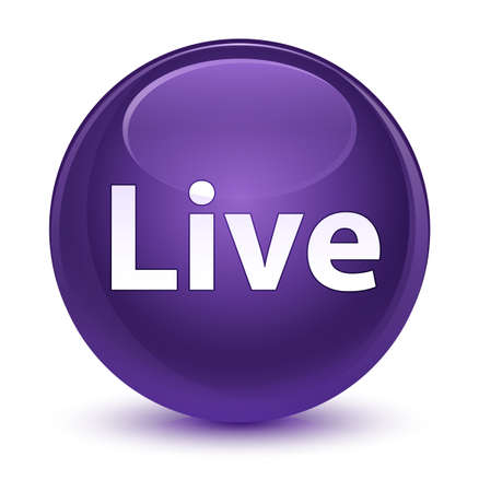 Live isolated on glassy purple round button abstract illustration