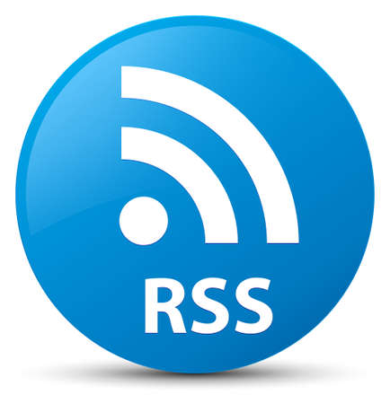 RSS isolated on cyan blue round button abstract illustration