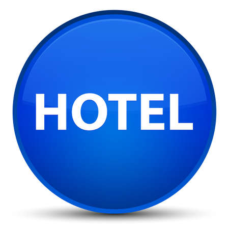 Hotel isolated on special blue round button abstract illustration Stock Photo