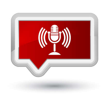 Mic icon isolated on prime red banner button abstract illustration