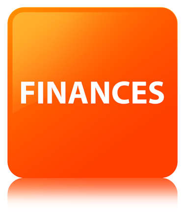 Finances isolated on orange square button reflected abstract illustration