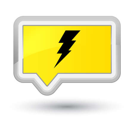 Electricity icon isolated on prime yellow banner button abstract illustration Stock Photo