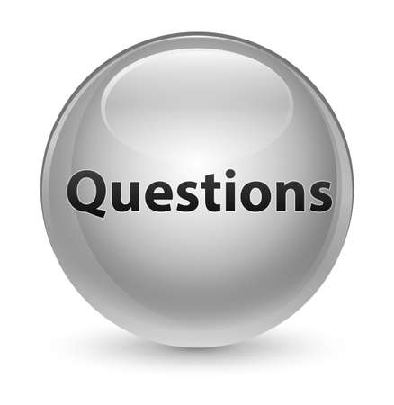 Questions isolated on glassy white round button abstract illustration
