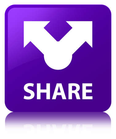Share isolated on purple square button reflected abstract illustration Фото со стока