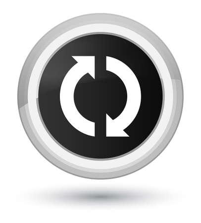 Icono de actualización aislado en la ilustración abstracta de botón redondo negro primordial Foto de archivo