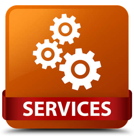 Services (gears icon) isolated on brown square button with red ribbon in middle abstract illustration