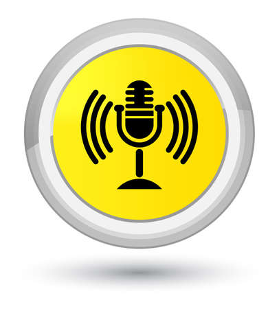 Mic icon isolated on prime yellow round button abstract illustration Stock Photo