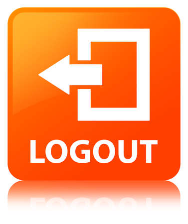 Logout isolated on orange square button reflected abstract illustration Stock Photo