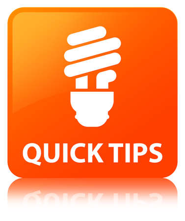 Quick tips (bulb icon) isolated on orange square button reflected abstract illustration Stock Photo