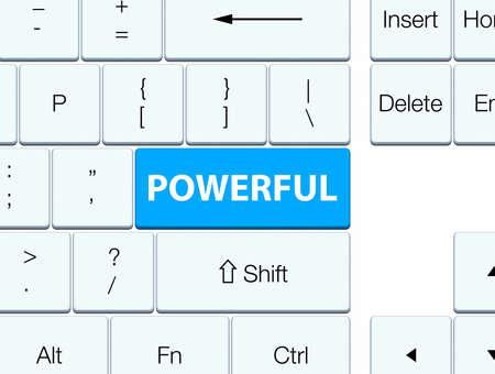 Powerful isolated on cyan blue keyboard button abstract illustration 版權商用圖片