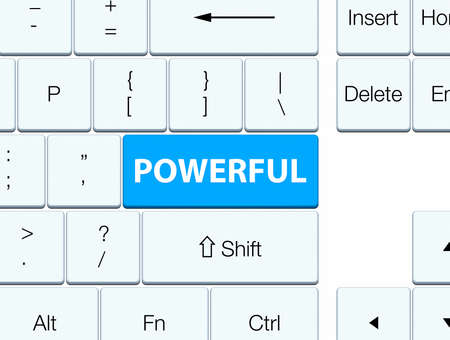 Powerful isolated on cyan blue keyboard button abstract illustration Stock Photo