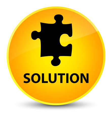 Solution (puzzle icon) isolated on elegant yellow round button abstract illustration Stock Photo