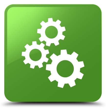 Gears icon isolated on soft green square button abstract illustration